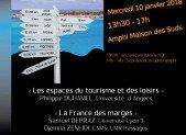 Géographie – Journée d'étude 10 janvier 2018 : Espaces du tourisme / France des marges