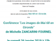 Conférence de Michelle Zancarini-Fournel : « Les images de Mai 68 en Gironde », samedi 26 janvier 2019